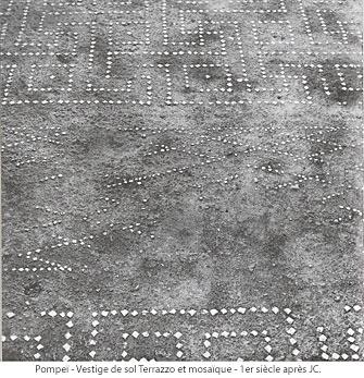 Pompei - Vestige de sol Terrazzo et mosaïque - 1er siècle avant JC