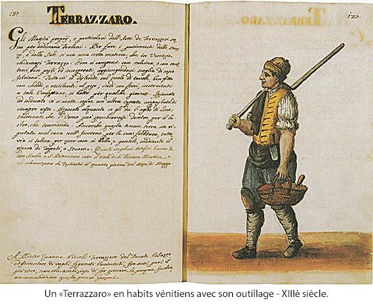 Un Terrazzaro en habits vénitiens avec son outillages - 13è siècle