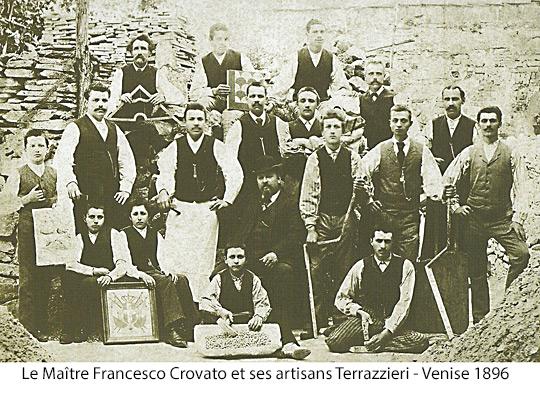 Le maître Francesco Crovato et ses artisants - Venise 1896