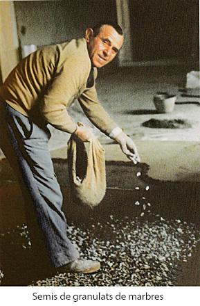 Semis des granulats de marbres