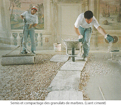 Semis et compactage des granulats de marbres.