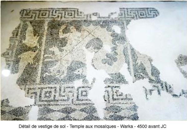 Détail de vestige de sol - temple aux mosaïques - Warka - 4500 avant JC